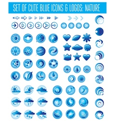 Weather icons blue vector