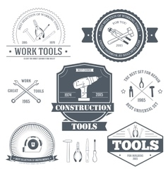 Work tools set label template of emblem element vector