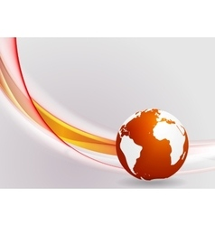 Tech background with globe and smooth waves vector image