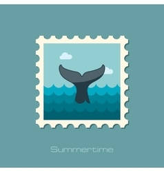 Whale tail stamp summer vacation vector