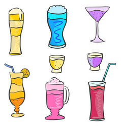art drink set various doodles vector image