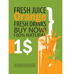 banner with orange and a glass of juice vector image vector image