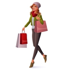 Beautiful young woman walking with shopping vector