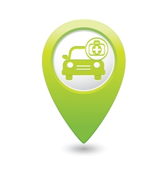 Cars first aid kit green map pointer vector