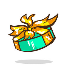 Cartoon surprise gift turquoise color with golden vector