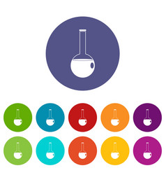Chemical flask icons set flat vector