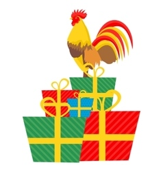 Cock and Gifts vector image vector image