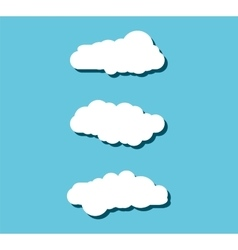 Collection of stylized fluffy cloud silhouettes vector image