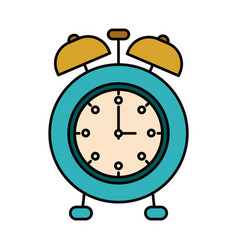 colorful silhouette image alarm clock vector image
