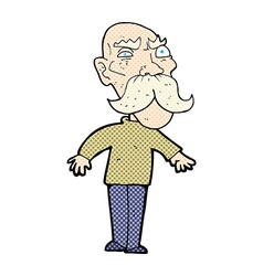 Comic cartoon angry old man vector