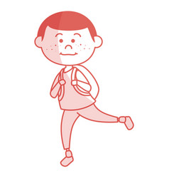 Cute little boy with bag school vector