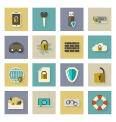 Cyber defense flat icons set with shadows vector image