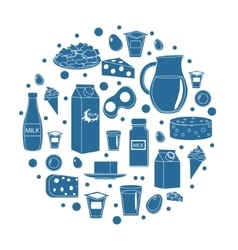 Dairy products icon set in round shape Flat style vector image vector image