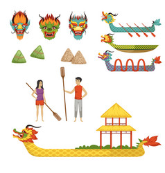 Dragon boat festival set of vector
