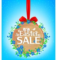 Easter sale wooden banner vector image