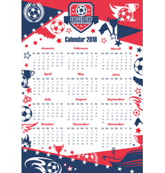 football sport calendar of soccer cup vector image