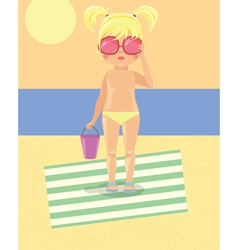 Girl in glasses on the beach vector image vector image