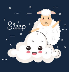Good night sleep cartoon sheep animals vector