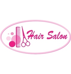 Hair salon signboard with scissors and comb vector