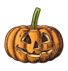 Halloween pumpkin with scary face vintage vector