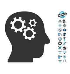 Intellect Gears Icon With Copter Tools Bonus vector image