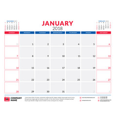 January 2018 calendar planner design template vector