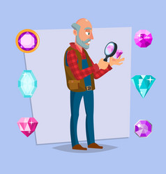 jeweler man eyeglass magnifier jewelry vector image