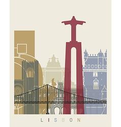 Lisbon skyline poster vector image vector image