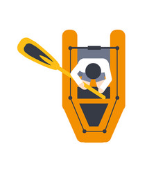 Orange raft for one person with peddle part of vector