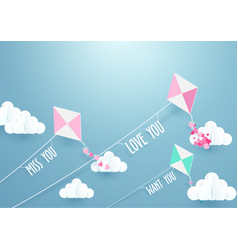 paper art fly kite and clouds on a blue sky vector image vector image