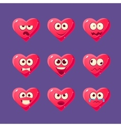 Pink heart emoji character set vector