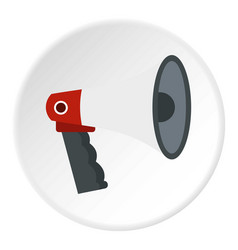 Red and white bullhorn public megaphone icon vector
