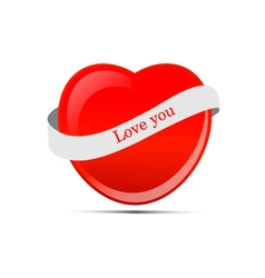 Red heart with ribbon vector image vector image