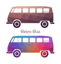 Retro hippie van silhouette vector