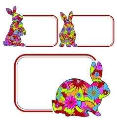 Set of banners with rabbits vector image