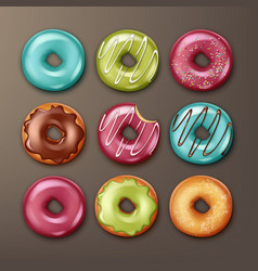 set of donuts vector image vector image