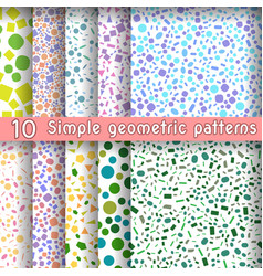 Set of ten simple geometric patterns vector