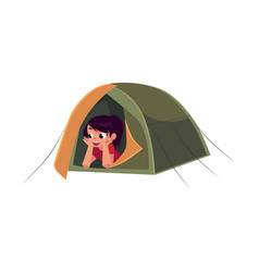 teenage girl looking out of tourist tent camping vector image