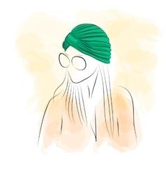 Woman in green turban vector