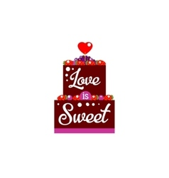 Chocolate cake with heart vector