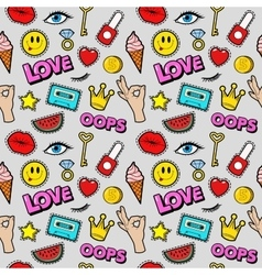 Lips eyes and jewelry seamless fashion pattern vector