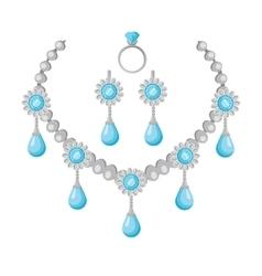 Necklace of Precious Stones in Flat Design vector image