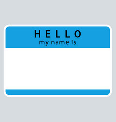 Blue name tag my name is vector