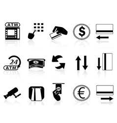 Atm machine and credit card icons set vector