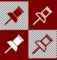 Pin push sign  bordo and white icons and vector