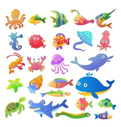Sea fishes and animals collection vector image