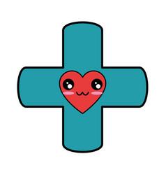Medical cross symbol kawaii cartoon vector