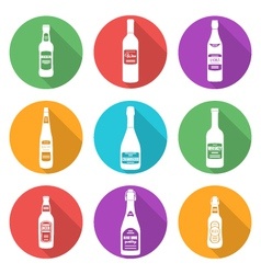 Flat style white silhouettes alcohol bottles icons vector