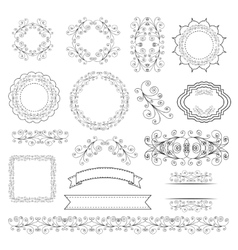 Set of labels ribbons and elements for design vector