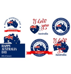 We love you australia badge label logo greeting ca vector